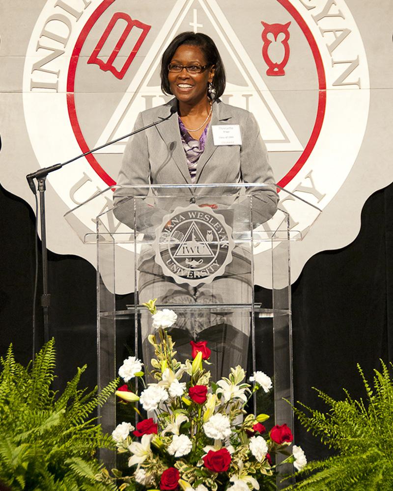 Thresette speaking at Indiana Weselyan University